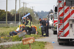 Abbotsford Fire and Rescue Crew Attend Accident Royalty Free Stock Images