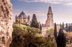 Abbotskloster av den dormitionHagia Maria sionen är benedictinegemenskapabbotskloster i jerusalem, Israel Arkivbild