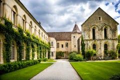 Abbotskloster av Fontenay, Bourgogne, Frankrike Arkivbilder
