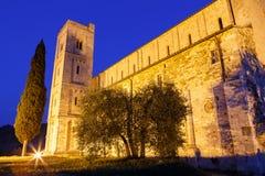 Abbotskloster av helgonet Antimo, Tuscany Fotografering för Bildbyråer