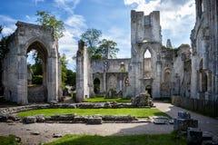Abbotskloster av Jumieges, fördärvar av abbotskloster från 1067, Normandie, Frankrike Royaltyfria Bilder