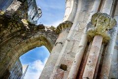 Abbotskloster av Jumieges, fördärvar av abbotskloster från 1067, Normandie, Frankrike Arkivfoton