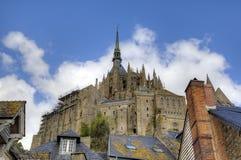 Abbotskloster av Mont Saint Michel, Normandie, Frankrike Arkivfoto