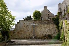 Abbotskloster av Mont Saint Michel, Normandie, Frankrike Arkivbilder
