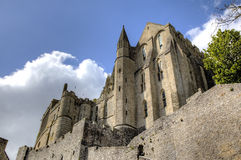 Abbotskloster av Mont Saint Michel, Normandie, Frankrike Fotografering för Bildbyråer