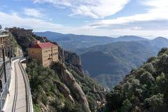 Abbotskloster av Montserrat järnväg Royaltyfri Fotografi