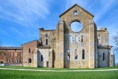 Abbotskloster av San Galgano, Tuscany, Italien Arkivbild