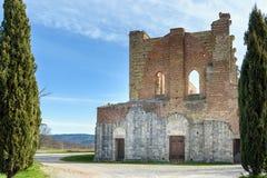 Abbotskloster av San Galgano, Tuscany, Italien Arkivbilder