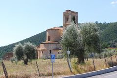 Abbotskloster av Sant ` Antimo Arkivbilder