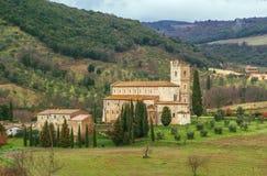 Abbotskloster av Sant Antimo, Italien Arkivfoto