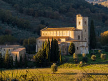 Abbotskloster av Sant& x27; Antimo Montalcino, Tuscany Royaltyfri Foto