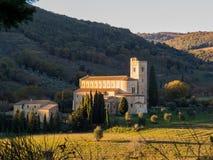 Abbotskloster av Sant& x27; Antimo Montalcino, Tuscany Royaltyfri Fotografi