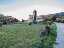 Abbotskloster av Sant& x27; Antimo Montalcino, Tuscany Arkivfoto