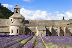 Abbotskloster av Senanque och lavendelblommor Arkivfoton