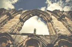 Abbotskloster för St Marys fördärvar, sikten av den gamla väggen i York, England, Förenade kungariket Royaltyfri Bild