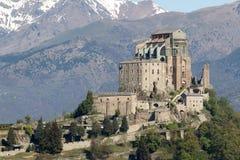 Abbotskloster för St Michael ` s av Val di Susa, Torino, Italien Arkivbild