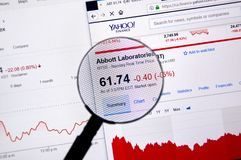 Abbott Laboratories ticker with charts. MONTREAL, CANADA - JUNE 22, 2018: Abbott Laboratories ticker - ABT with charts under magnifying glass on Yahoo Finance stock image