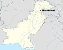 Abbottabad in Pakistan. Map of Pakistan showing location of city of Abbottabad where Osama Bin Laden was killed on 2nd May 2011 vector illustration