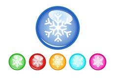 Abbottona i fiocchi di neve Immagini Stock
