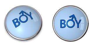 Abbottoni il ragazzo blu di parola/simbolo maschio di genere Fotografia Stock Libera da Diritti