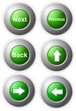 Abbottoni l'acciaio lucido verde Fotografie Stock