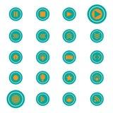 Abbottoni l'insieme verde dell'arancia dell'icona Immagini Stock Libere da Diritti