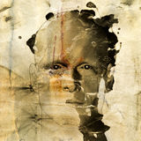 Abbozzo approssimativo dell'uomo su documento grungy Fotografie Stock
