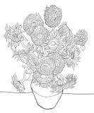 Abbozzo del girasole da Van Gogh immagine stock