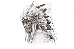 Abbozzo del tatuaggio del guerriero dell'indiano dell'nativo americano Fotografie Stock Libere da Diritti