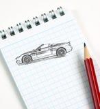 Abbozzo dell'automobile a matita Fotografie Stock Libere da Diritti