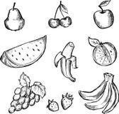Abbozzo dell'insieme dell'icona della frutta Fotografia Stock