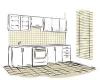 Abbozzo dell'interiore della cucina Immagini Stock Libere da Diritti