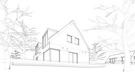Abbozzo della casa moderna sulla situazione del â della collina Immagine Stock Libera da Diritti