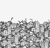 Abbozzo della città, priorità bassa senza giunte per il vostro disegno Immagini Stock
