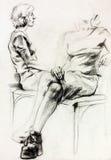 Abbozzo della donna royalty illustrazione gratis