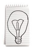 Abbozzo della lampadina sul taccuino Fotografie Stock