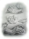 Abbozzo delle mani Fotografia Stock Libera da Diritti