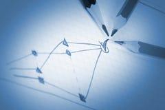 Abbozzo di affari di successo con tre matite Immagine Stock
