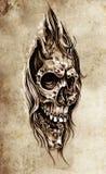 Abbozzo di arte del tatuaggio, illustrazione capa del cranio royalty illustrazione gratis