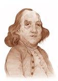 Abbozzo di caricatura del Benjamin Franklin Fotografia Stock Libera da Diritti