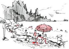 Abbozzo di Doodle del mare Fotografie Stock Libere da Diritti