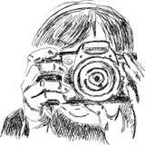 Abbozzo di fotographer con la macchina fotografica Fotografie Stock Libere da Diritti