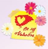 Abbozzo di giorno dei biglietti di S. Valentino con i fiori della margherita Fotografia Stock Libera da Diritti