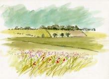Abbozzo di paesaggio del Watercolour Fotografia Stock