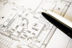 Abbozzo di un houseplan Fotografia Stock