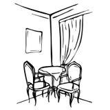 Abbozzo disegnato a mano Interno della sala da pranzo Fotografia Stock
