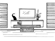 Abbozzo disegnato a mano Schizzo lineare dell'interno Fotografia Stock