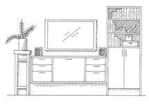 Abbozzo disegnato a mano Schizzo lineare dell'interno Scaffale, apprettatrice con la TV e scaffali Illustrazione di vettore Immagine Stock