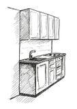 Abbozzo disegnato a mano Schizzo lineare di un interno Parte del bagno Illustrazione di vettore Immagini Stock