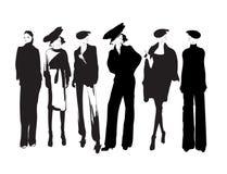 abbozzo ragazze di modo su un fondo bianco royalty illustrazione gratis